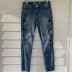 Seven Embroidered Skinny Jeans 8 Blue Floral